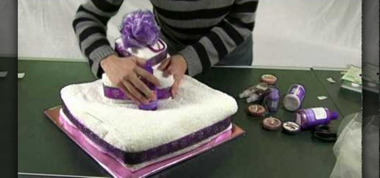 how to make a towel cake for a bridal shower or event table preparation wonderhowto