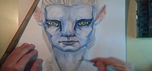 Draw & watercolor Na'vi Jake Sully from Avatar