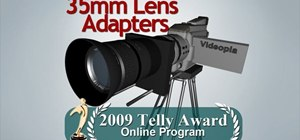 Change to a 35mm lens adapter on a video camera