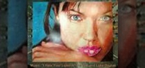 Paint Angelina Jolie with lipstick