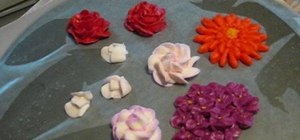Air dry flowers made from buttercream frosting to use as cake decorations