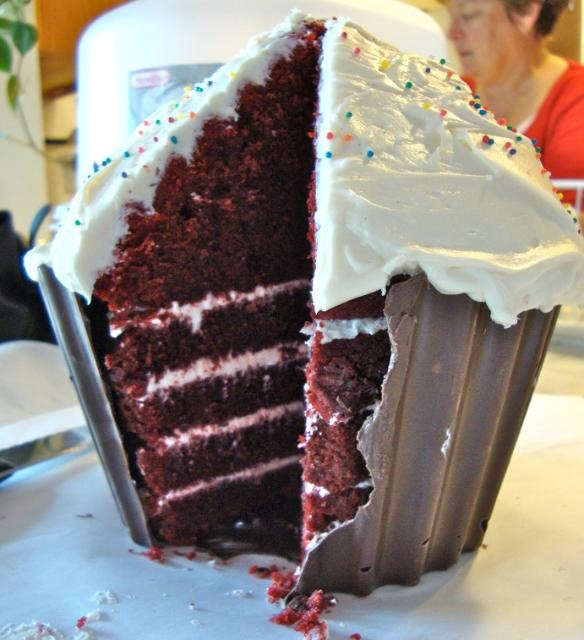 RECIPE: Giant Red Velvet Cup Cake