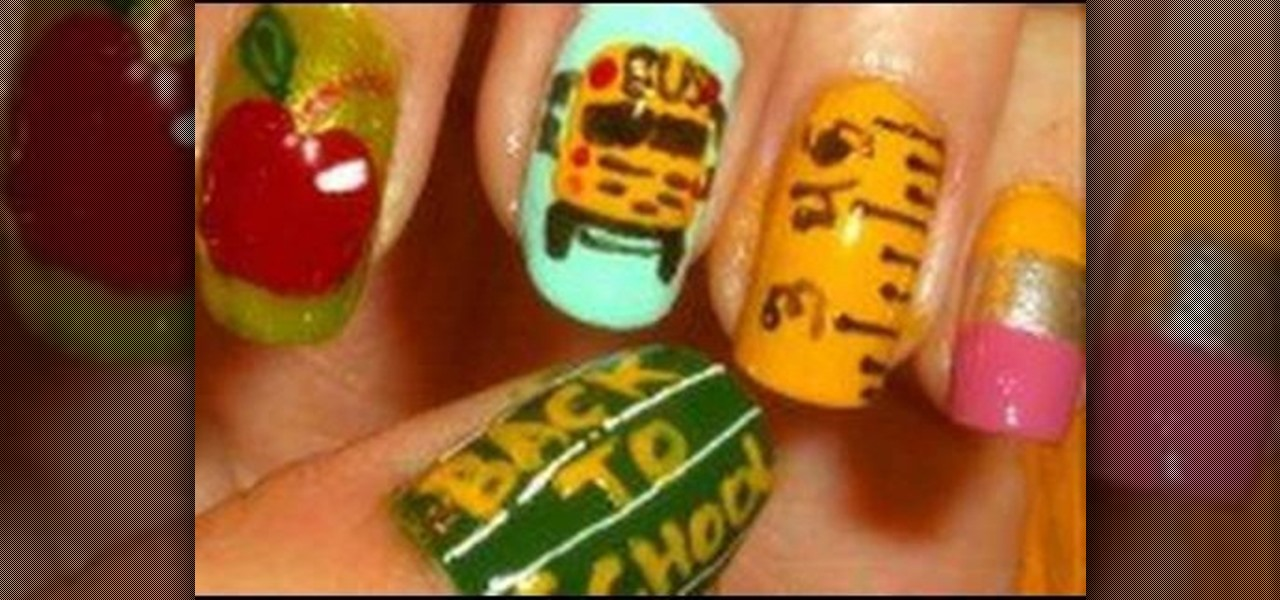 "... School"" nail look with apples, pencils, and more « Nails & Manicure"