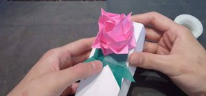 Create a birthday origami rose and leaf ribbon