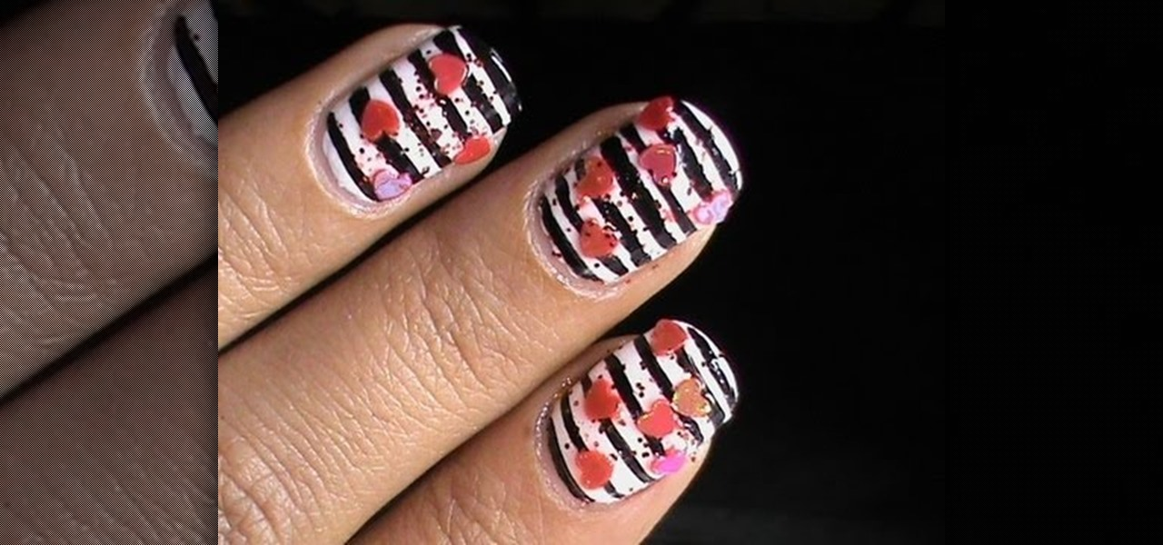 Do Striped Valentines Day Nail Art Design