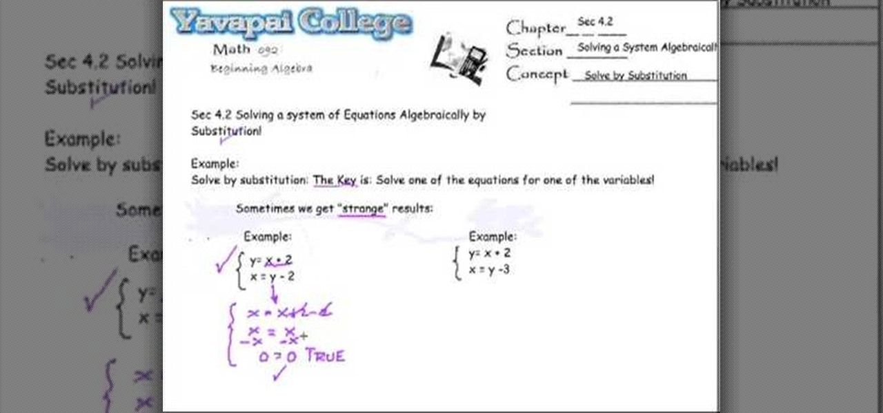 How to Solve a system of equations algebraically « Math