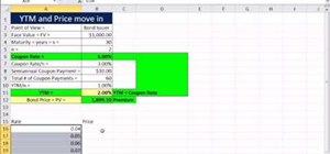 Make an Excel scatter chart to show the relationship between bond rate & price