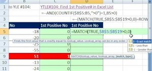 Find the first positive number in a list in Excel
