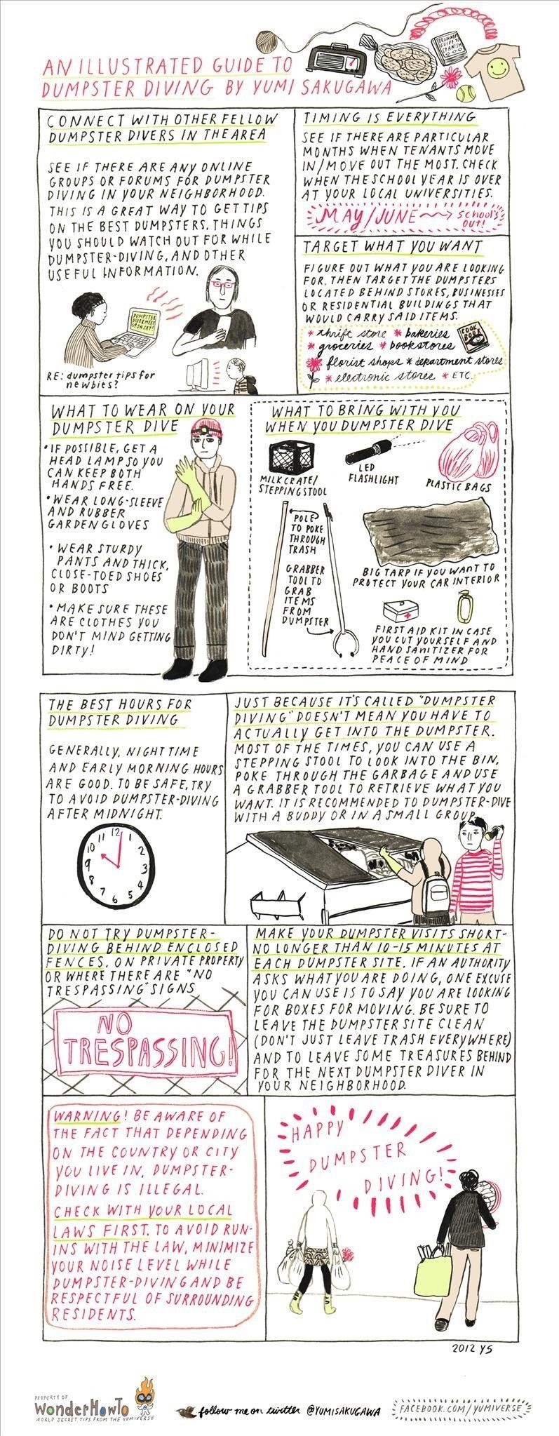 Trash Treasure Hunt: An Illustrated Guide to Dumpster Diving for Newbies