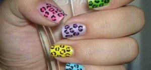 Create neon-colored leopard print nails