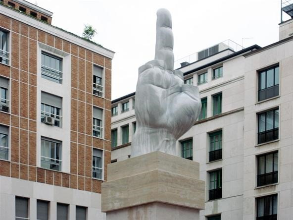 Italian Stock Exchange Commissions Giant 13-Foot Middle Finger