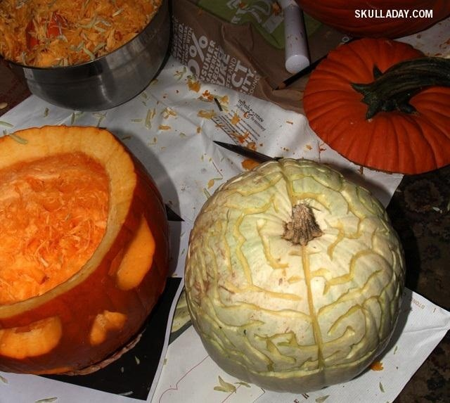 This Skillfully Carved Jack-O'-Lantern Lets You Perform Experimental Pumpkin Brain Surgery