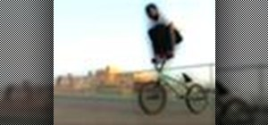 Perform a barhop on a BMX bicycle