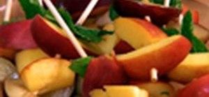 Create healthy chocolate-dipped fruit skewers