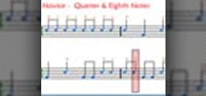 Play the drums with quarter and eighth notes