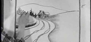 Draw a snowy road scene with a nostalgic 50's film