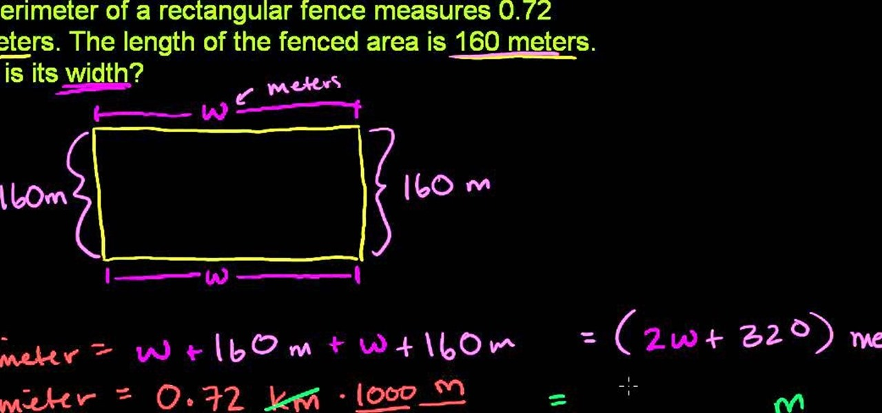 How to calculate the width of a fence given its length and how to calculate the width of a fence given its length and perimeter math wonderhowto ccuart Choice Image