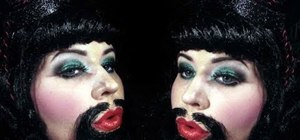 "Create a freakshow ""Bearded Bettie"" makeup look for Halloween"