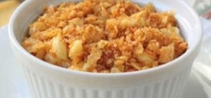 Make yummy no-bake mac and cheese with potato chip gratin