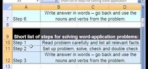 Work with mathematical word problems in MS Excel