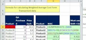 Use SUMPRODUCT for weighted average cost in Excel