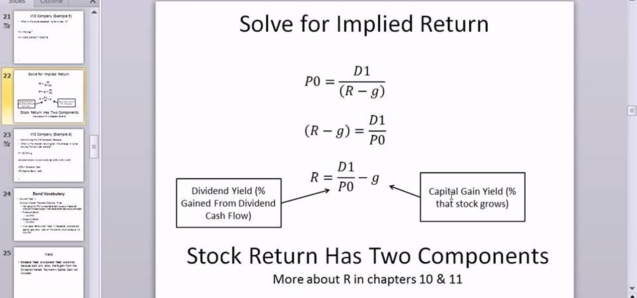 rate of return and stock If you have come searching for required rate of return (rrr), i assume you are   lost or gained on your investments, whether it is stock or an overall portfolio.