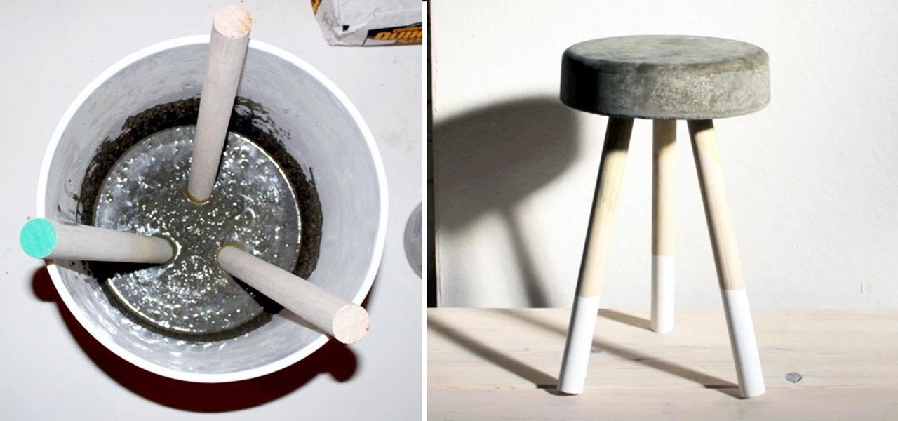 Make a Sweet $5 Bar Stool Using Wooden Dowels & Concrete