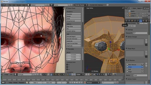 Create multiple UV maps & clone paint projected textures in Blender 2.5