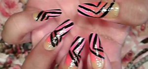 Paint your nails with a summer rainbow stripe design