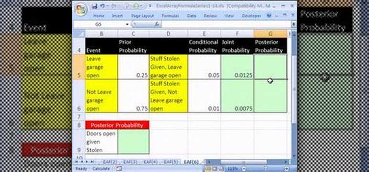 how to create an array formula for bayes u0026 39  theorem in excel