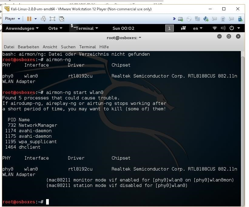 Kali Linux on VM-Workstation wlan0/Phy0