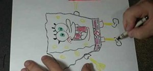 Draw Spongebob Squarepants using a crayon and coin