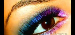 Get winter rainbow multi-colored eyes with your makeup