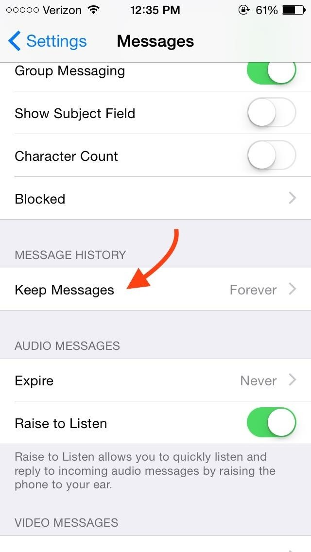 How to Delete Your Message History Automatically in iOS 8