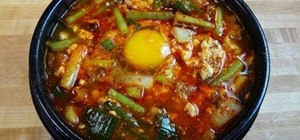 Make soon du bu jjigae (hot and spicy soft tofu stew)