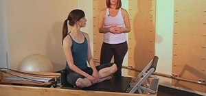 Do a thoracic rotation routine on a Pilates Reformer
