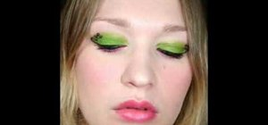 Create a hot pink & lime green leopard print eye look