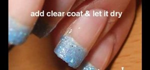 Paint your nails with blue glitter & black nail polish
