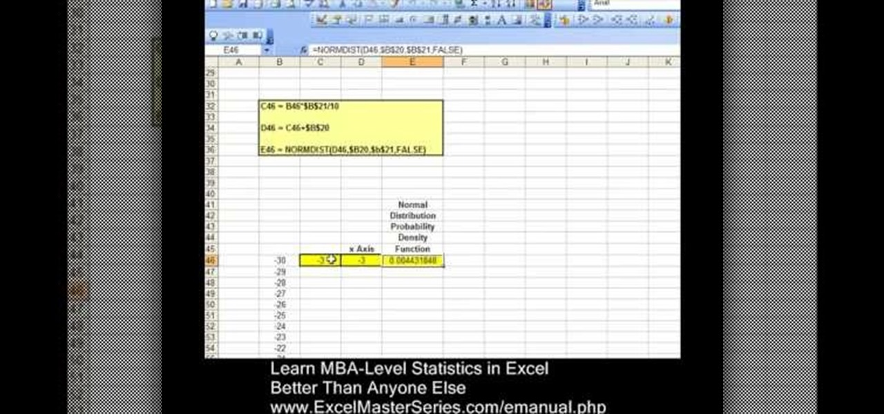 How to Graph the probability density function in an Excel