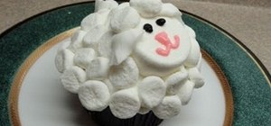 Decorate a simple marshmallow sheep cupcake