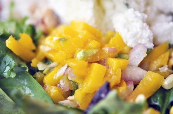 The tart lemon basil sorbet should slowly melt onto the dressed greens ...