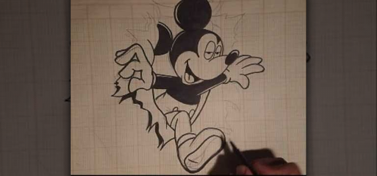how to detail and ink a graffitiinspired mickey mouse