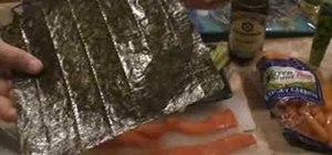 Prepare vegetarian and salmon sushi rolls