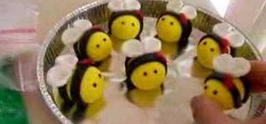 Make miniature fondant bumblebees for cake decorating