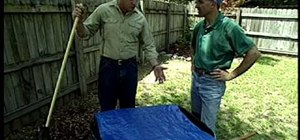 Make a leaf cover out of a tarp and wooden dowel rods