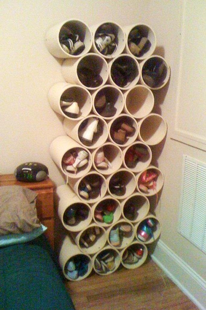 How To Build A Low Cost Shoe Rack Using PVC Pipes « MacGyverisms ::  WonderHowTo