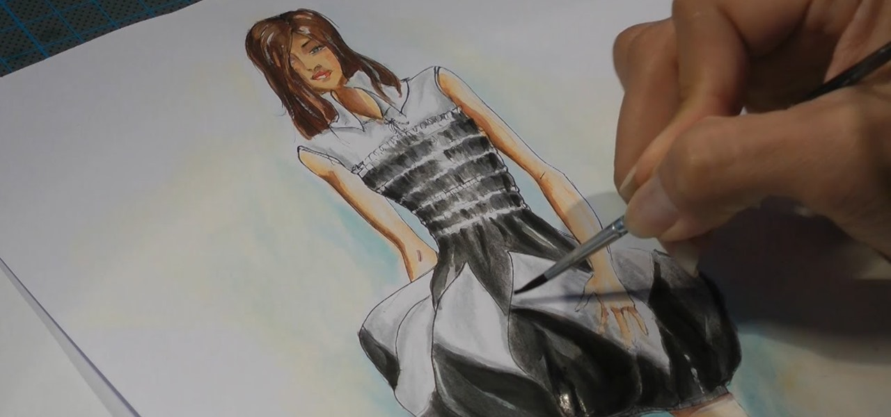 Fashion Drawing - How I Paint a Black and White Dress