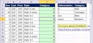 Use VLOOKUP to add a column of categories in MS Excel