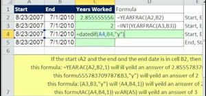 Use YEARFRAC, INT, and DATEDIF in Excel