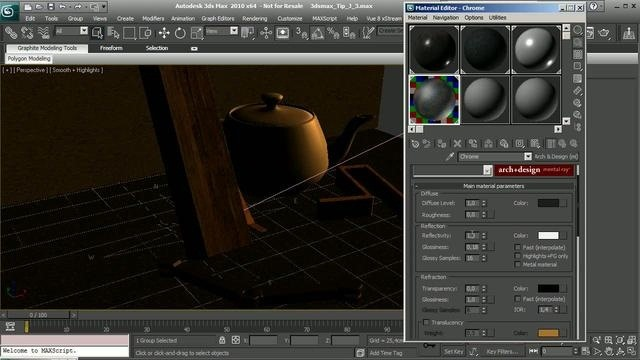 Create a wet surface effect within 3D Studio Max 2010